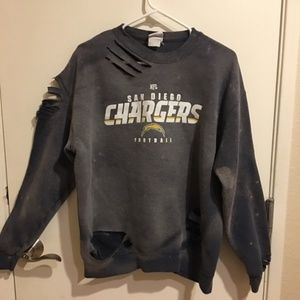 Chargers SD Bleached Distressed Sweater Upcycled